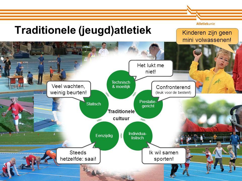 Atletiekunie Traditionele (jeugd)atletiek Technisch & moeilijk Prestatie- gericht Individua- listisch EenzijdigStatisch Traditionele cultuur Confronte