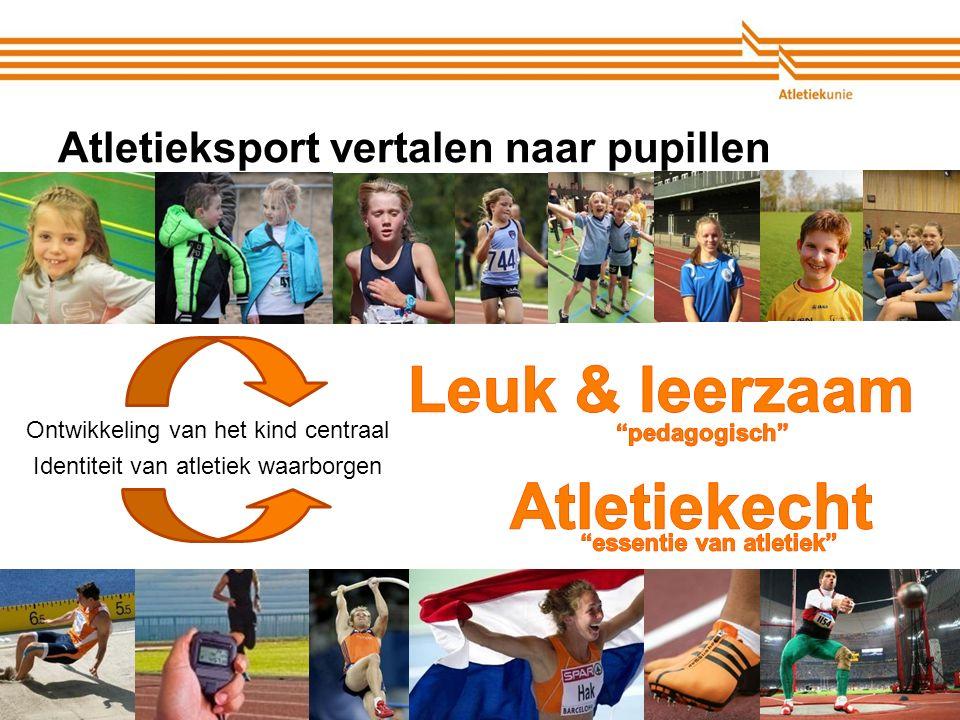 Atletiekunie Atletieksport vertalen naar pupillen Ontwikkeling van het kind centraal Identiteit van atletiek waarborgen