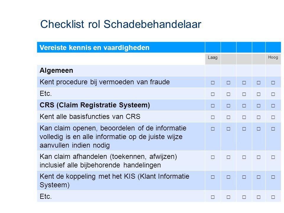 Checklist rol Schadebehandelaar Vereiste kennis en vaardigheden Laag Hoog Algemeen Kent procedure bij vermoeden van fraude□□□□□ Etc.□□□□□ CRS (Claim R