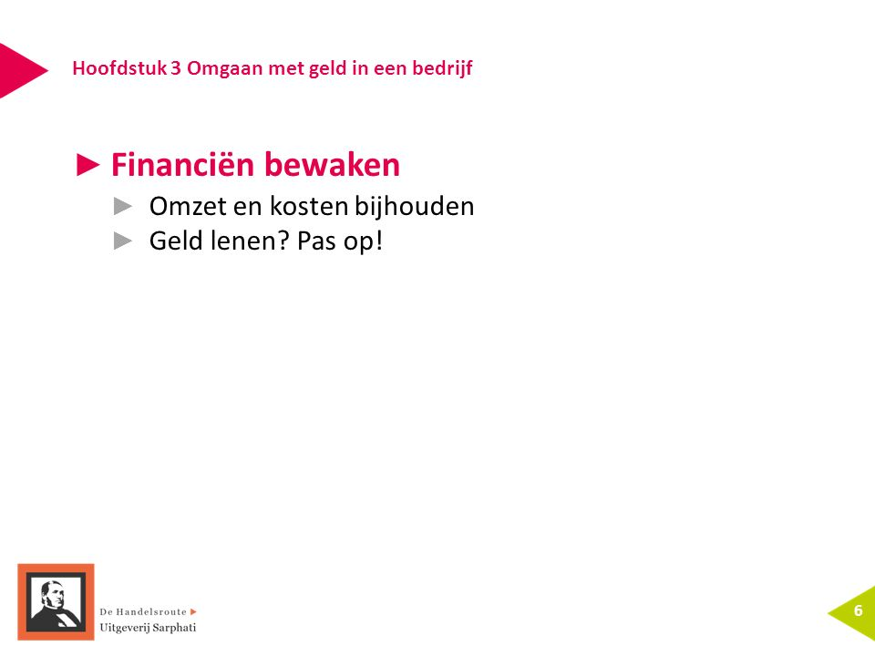 Hoofdstuk 3 Omgaan met geld in een bedrijf 6 ► Financiën bewaken ► Omzet en kosten bijhouden ► Geld lenen.