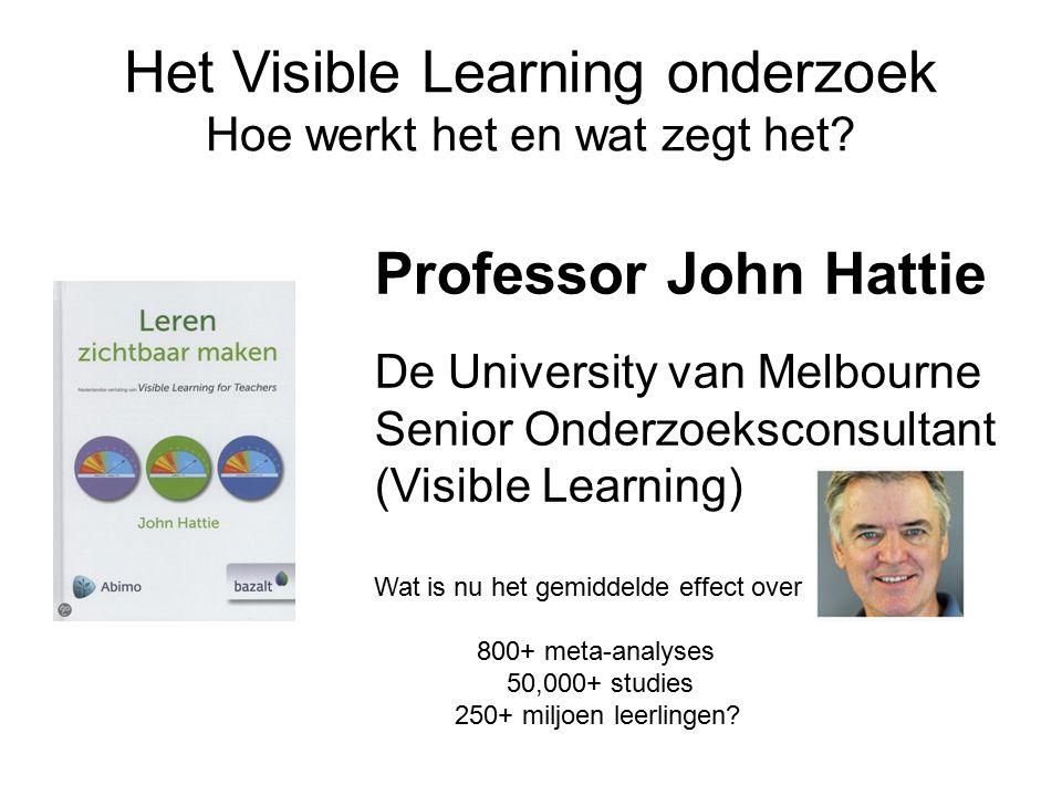 Het Visible Learning onderzoek Hoe werkt het en wat zegt het.