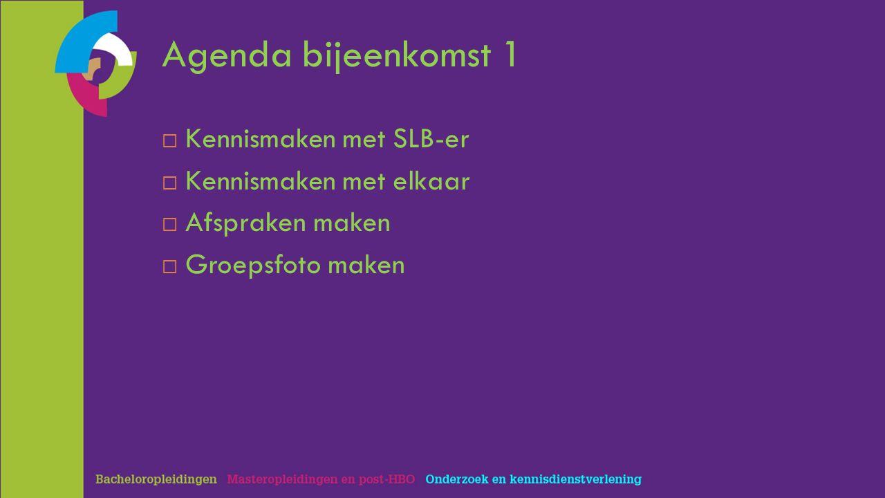 Agenda bijeenkomst 1  Kennismaken met SLB-er  Kennismaken met elkaar  Afspraken maken  Groepsfoto maken