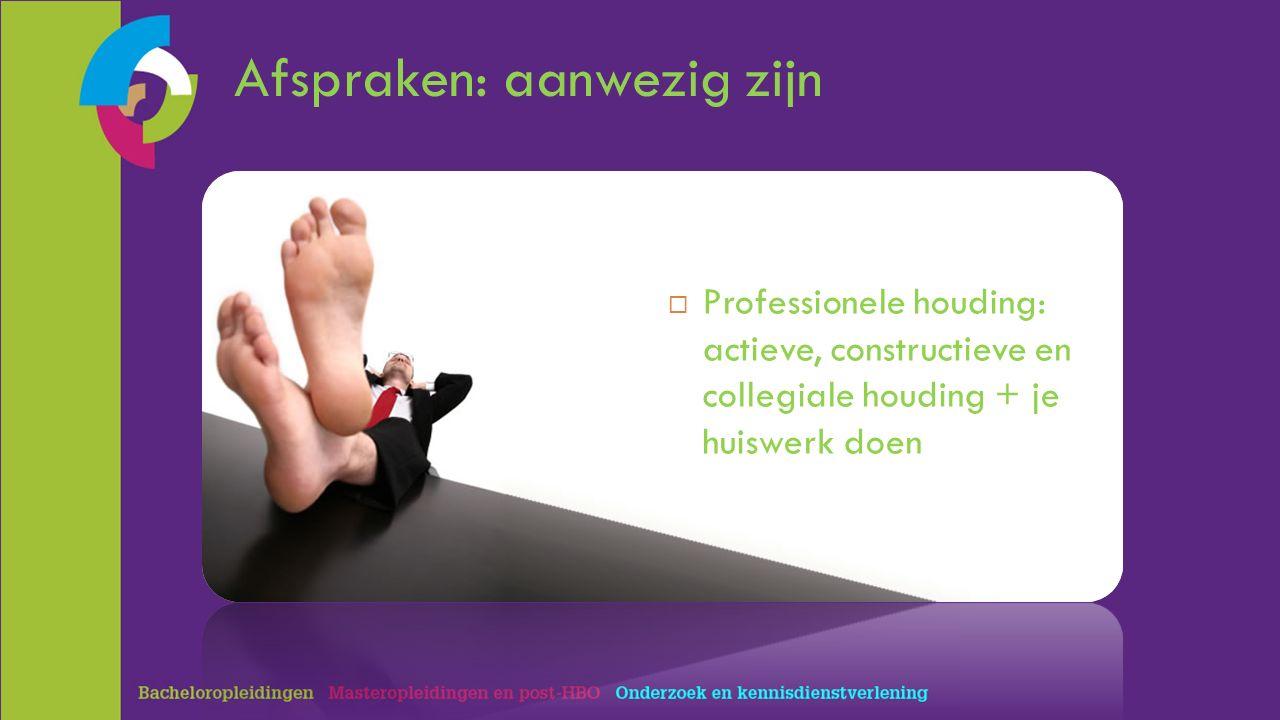 Afspraken: aanwezig zijn  Professionele houding: actieve, constructieve en collegiale houding + je huiswerk doen