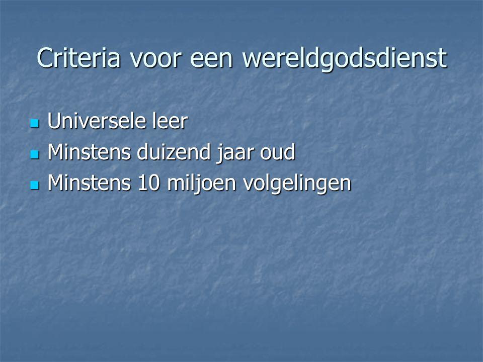 Criteria voor een wereldgodsdienst Universele leer Universele leer Minstens duizend jaar oud Minstens duizend jaar oud Minstens 10 miljoen volgelingen Minstens 10 miljoen volgelingen