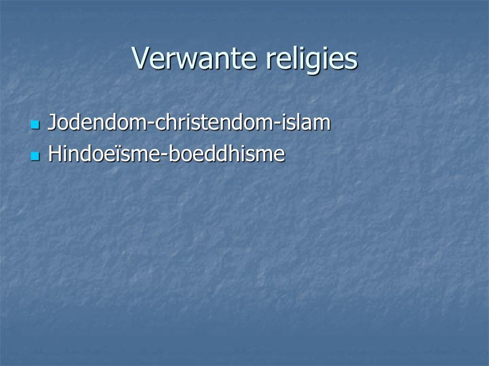 Verwante religies Jodendom-christendom-islam Jodendom-christendom-islam Hindoeïsme-boeddhisme Hindoeïsme-boeddhisme