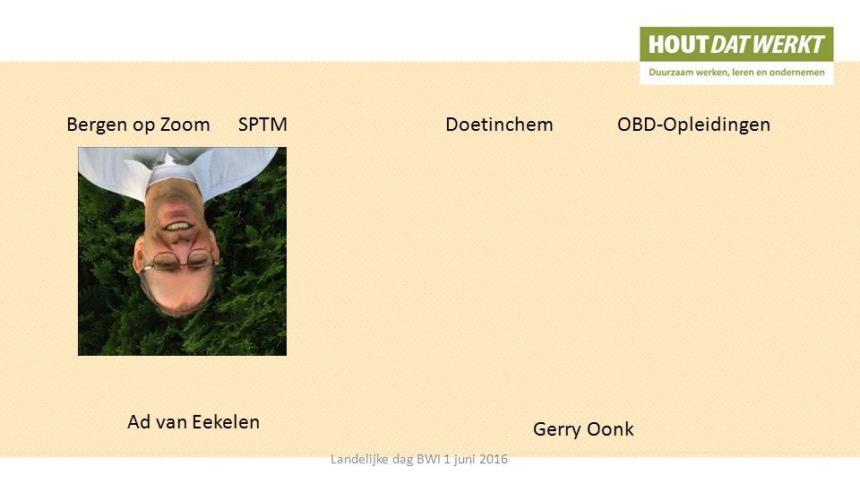 Bergen op ZoomSPTMDoetinchem OBD-Opleidingen Gerry Oonk Ad van Eekelen Landelijke dag BWI 1 juni 2016