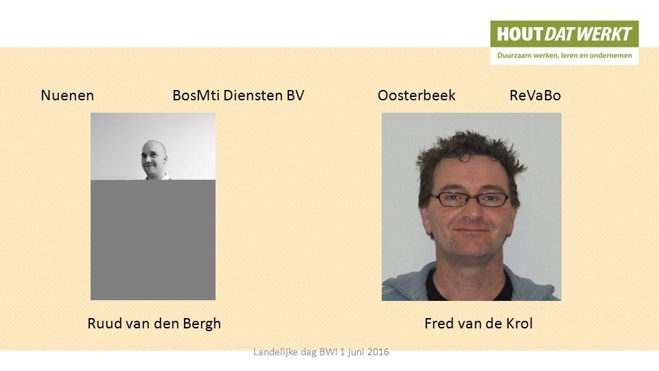 NuenenBosMti Diensten BVOosterbeekReVaBo Fred van de KrolRuud van den Bergh Landelijke dag BWI 1 juni 2016