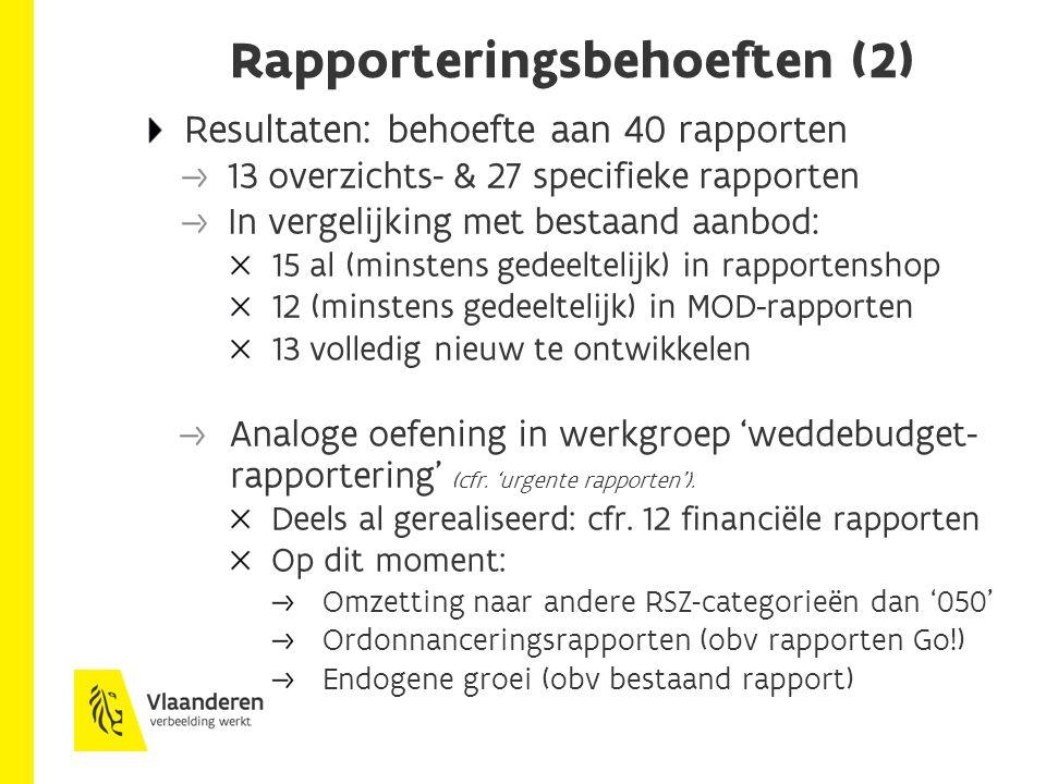 Rapporteringsbehoeften (2) Resultaten: behoefte aan 40 rapporten 13 overzichts- & 27 specifieke rapporten In vergelijking met bestaand aanbod: 15 al (minstens gedeeltelijk) in rapportenshop 12 (minstens gedeeltelijk) in MOD-rapporten 13 volledig nieuw te ontwikkelen Analoge oefening in werkgroep 'weddebudget- rapportering' (cfr.