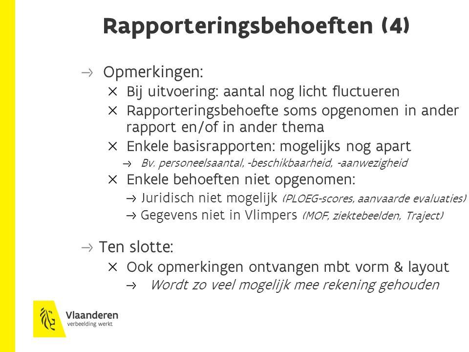 Rapporteringsbehoeften (4) Opmerkingen: Bij uitvoering: aantal nog licht fluctueren Rapporteringsbehoefte soms opgenomen in ander rapport en/of in ander thema Enkele basisrapporten: mogelijks nog apart Bv.