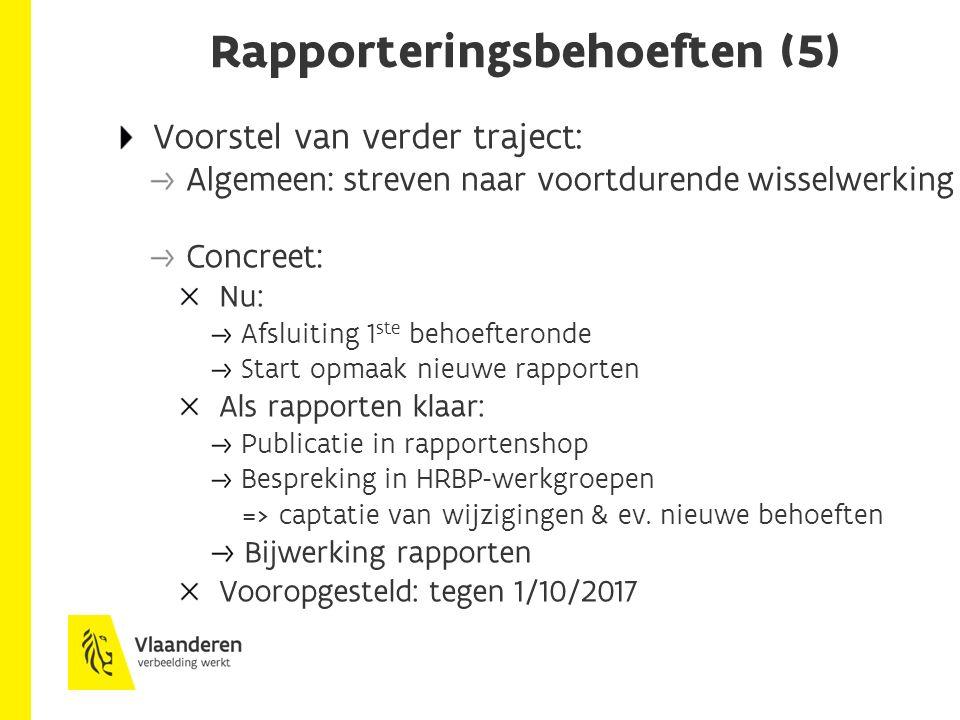Rapporteringsbehoeften (5) Voorstel van verder traject: Algemeen: streven naar voortdurende wisselwerking Concreet: Nu: Afsluiting 1 ste behoefteronde