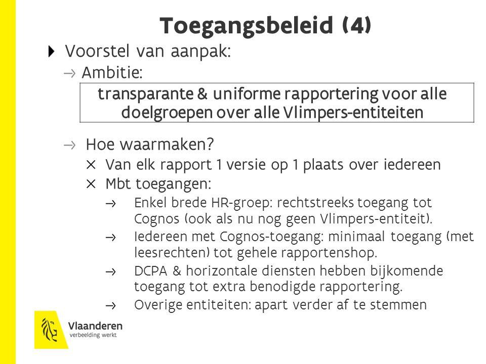 Toegangsbeleid (4) Voorstel van aanpak: Ambitie: transparante & uniforme rapportering voor alle doelgroepen over alle Vlimpers-entiteiten Hoe waarmake