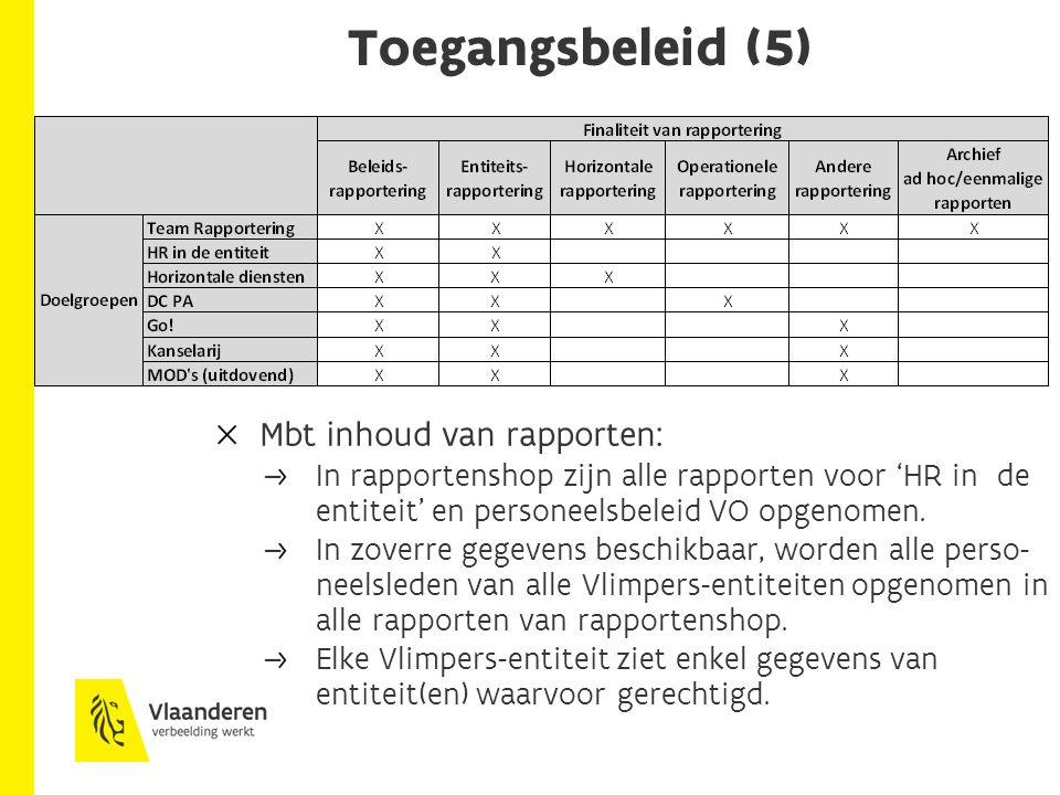 Toegangsbeleid (5) Mbt inhoud van rapporten: In rapportenshop zijn alle rapporten voor 'HR in de entiteit' en personeelsbeleid VO opgenomen. In zoverr
