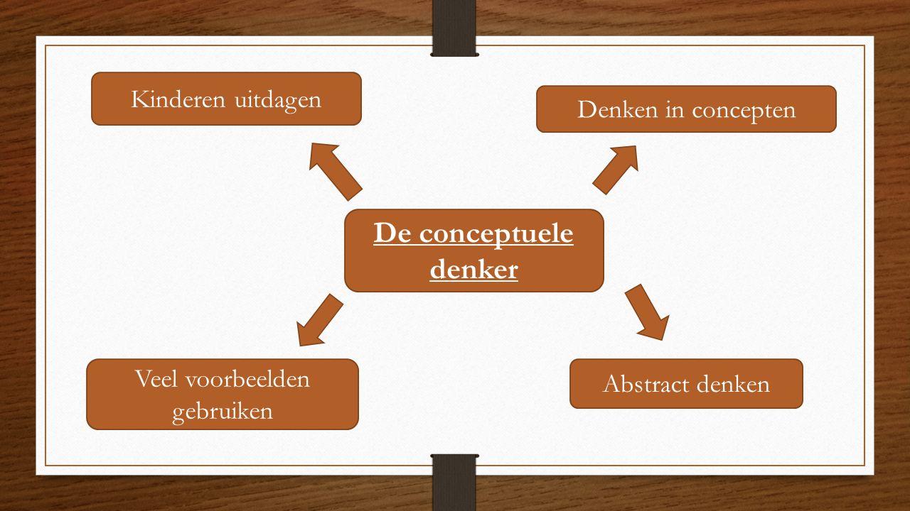 De conceptuele denker Denken in concepten Abstract denken Veel voorbeelden gebruiken Kinderen uitdagen