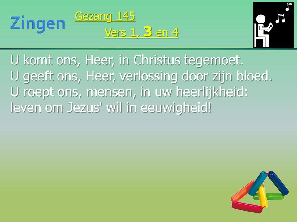 U komt ons, Heer, in Christus tegemoet. U geeft ons, Heer, verlossing door zijn bloed. U roept ons, mensen, in uw heerlijkheid: leven om Jezus' wil in