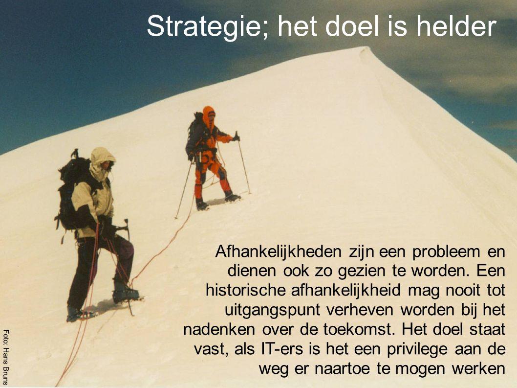 Strategie; het doel is helder Afhankelijkheden zijn een probleem en dienen ook zo gezien te worden.