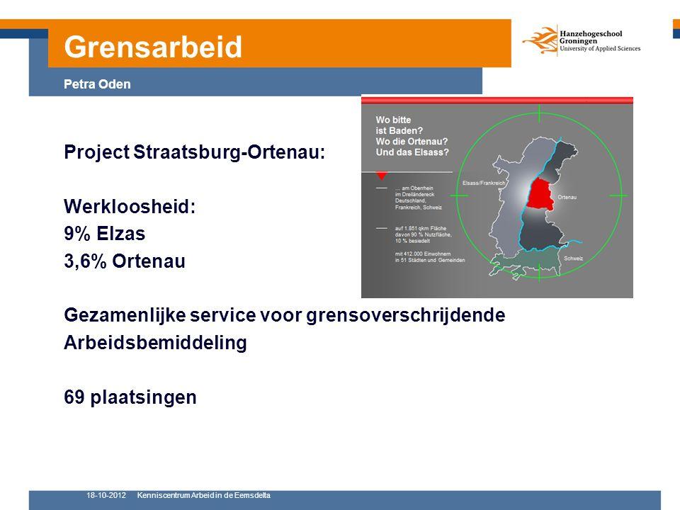 18-10-2012Kenniscentrum Arbeid in de Eemsdelta 10 Project Straatsburg-Ortenau: Werkloosheid: 9% Elzas 3,6% Ortenau Gezamenlijke service voor grensover