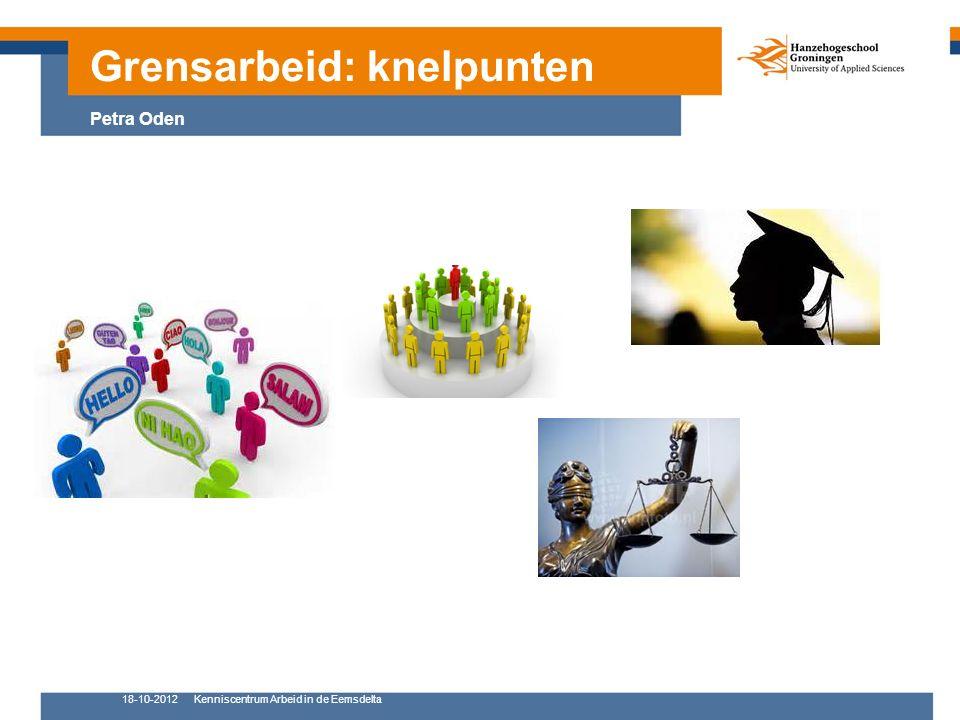 18-10-2012Kenniscentrum Arbeid in de Eemsdelta 11 Grensarbeid: knelpunten Petra Oden