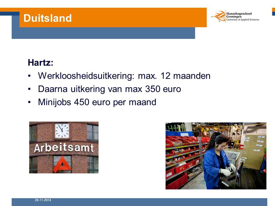 Duitsland Hartz: Werkloosheidsuitkering: max. 12 maanden Daarna uitkering van max 350 euro Minijobs 450 euro per maand 28-11-2014