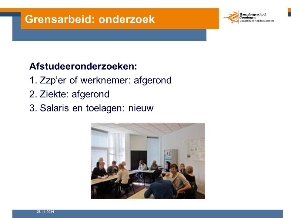 Grensarbeid: onderzoek Afstudeeronderzoeken: 1. Zzp'er of werknemer: afgerond 2.