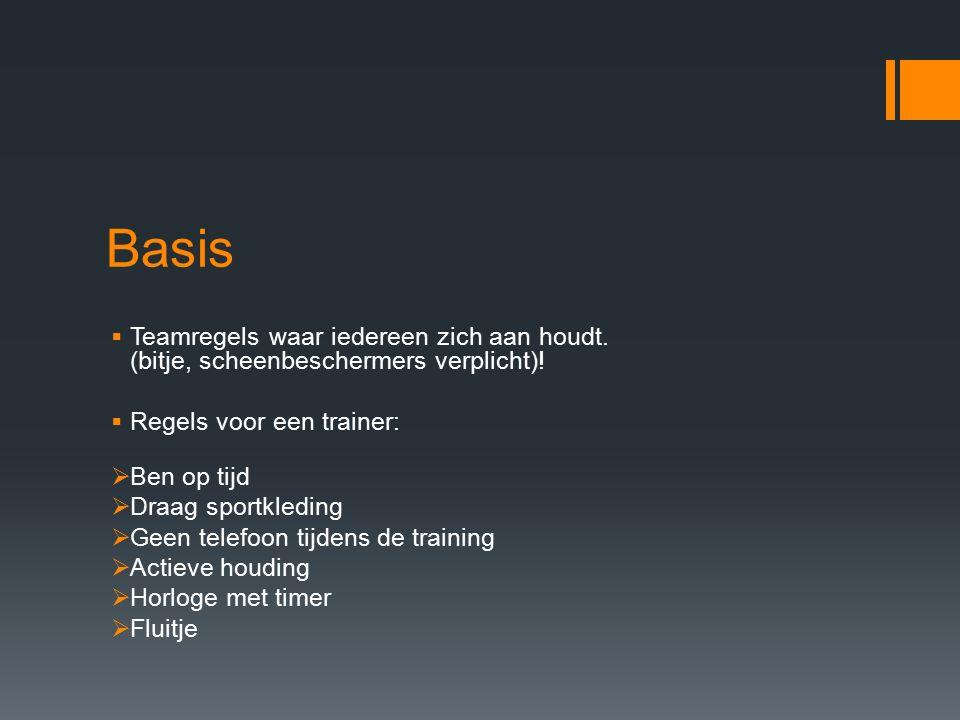 Basis  Teamregels waar iedereen zich aan houdt. (bitje, scheenbeschermers verplicht).