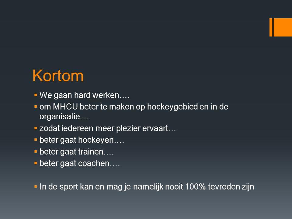 Kortom  We gaan hard werken….  om MHCU beter te maken op hockeygebied en in de organisatie….