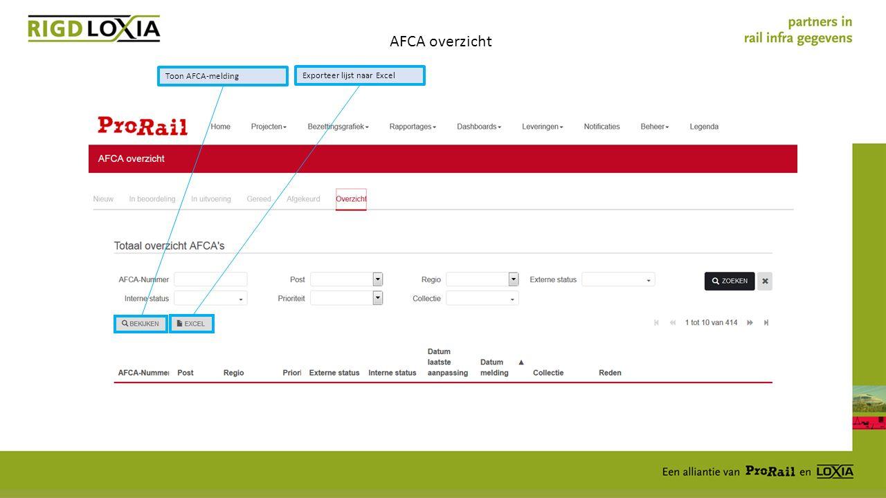 AFCA overzicht Toon AFCA-melding Exporteer lijst naar Excel