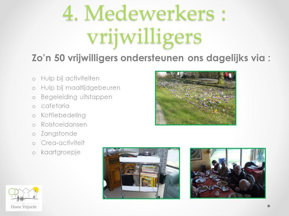 4. Medewerkers : vrijwilligers Zo'n 50 vrijwilligers ondersteunen ons dagelijks via : o Hulp bij activiteiten o Hulp bij maaltijdgebeuren o Begeleidin