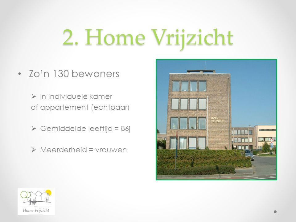 2. Home Vrijzicht Zo'n 130 bewoners  In individuele kamer of appartement (echtpaar )  Gemiddelde leeftijd = 86j  Meerderheid = vrouwen