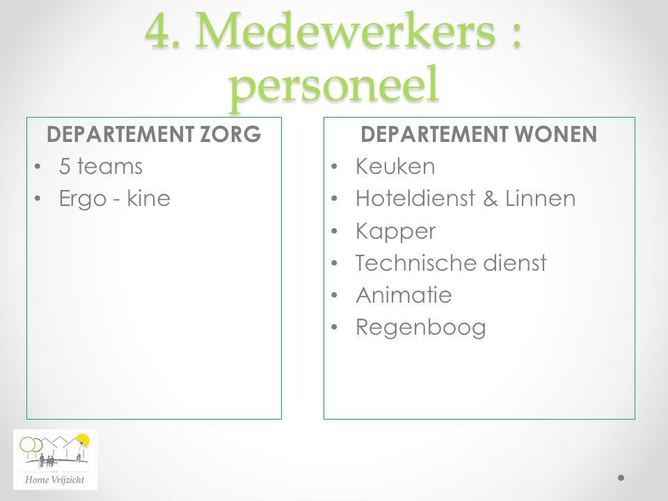 4. Medewerkers : personeel DEPARTEMENT WONEN Keuken Hoteldienst & Linnen Kapper Technische dienst Animatie Regenboog DEPARTEMENT ZORG 5 teams Ergo - k