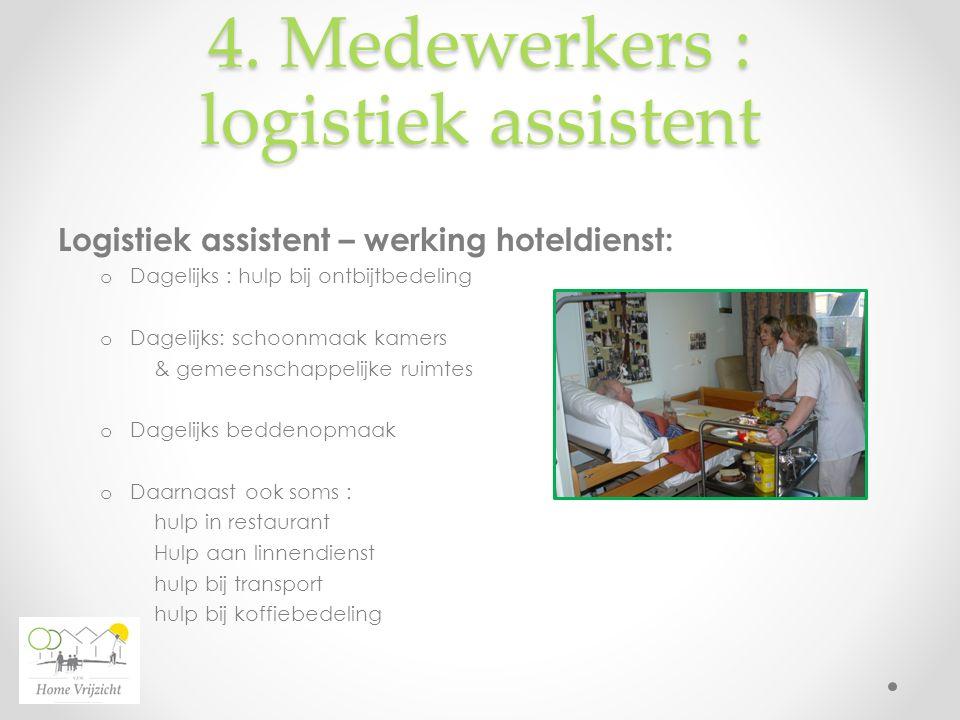 4. Medewerkers : logistiek assistent Logistiek assistent – werking hoteldienst: o Dagelijks : hulp bij ontbijtbedeling o Dagelijks: schoonmaak kamers