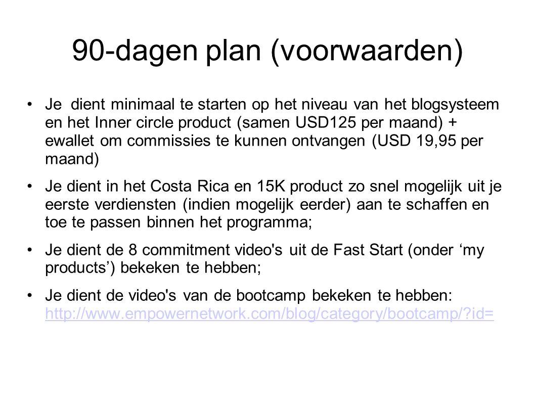 90-dagen plan (voorwaarden) Je dient minimaal te starten op het niveau van het blogsysteem en het Inner circle product (samen USD125 per maand) + ewallet om commissies te kunnen ontvangen (USD 19,95 per maand) Je dient in het Costa Rica en 15K product zo snel mogelijk uit je eerste verdiensten (indien mogelijk eerder) aan te schaffen en toe te passen binnen het programma; Je dient de 8 commitment video s uit de Fast Start (onder 'my products') bekeken te hebben; Je dient de video s van de bootcamp bekeken te hebben: http://www.empowernetwork.com/blog/category/bootcamp/ id= http://www.empowernetwork.com/blog/category/bootcamp/ id=