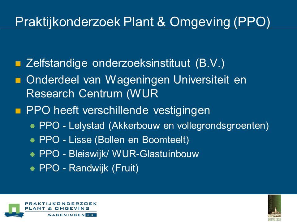 Praktijkonderzoek Plant & Omgeving (PPO) Zelfstandige onderzoeksinstituut (B.V.) Onderdeel van Wageningen Universiteit en Research Centrum (WUR PPO heeft verschillende vestigingen PPO - Lelystad (Akkerbouw en vollegrondsgroenten) PPO - Lisse (Bollen en Boomteelt) PPO - Bleiswijk/ WUR-Glastuinbouw PPO - Randwijk (Fruit)