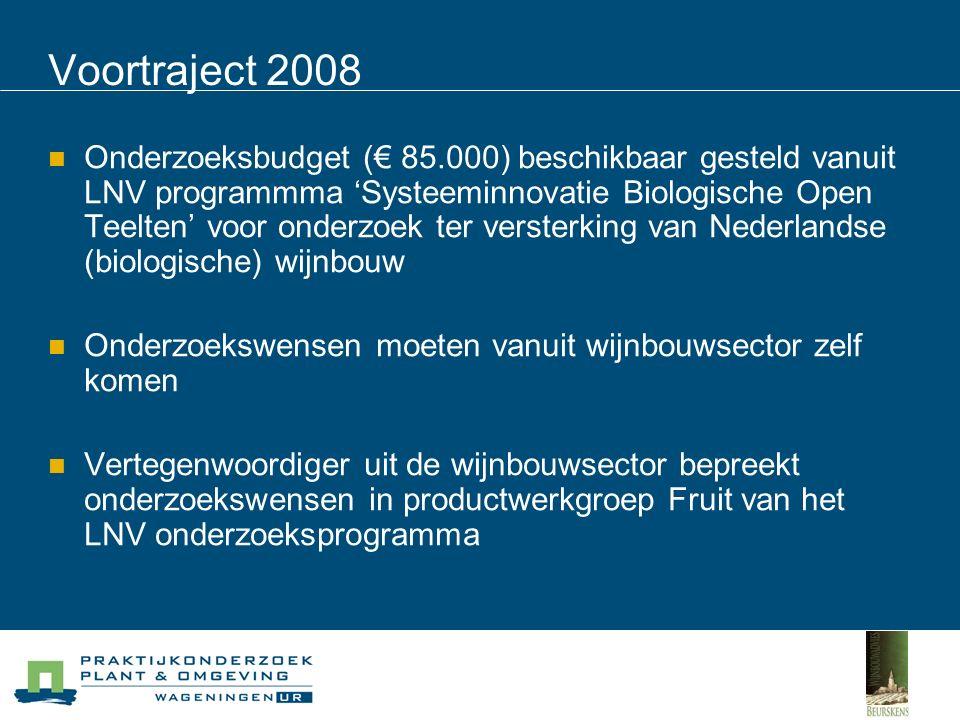 Voortraject 2008 Onderzoekswensen geinventariseerd via wijngaardeniersgilde Dik Beker aangezocht als vertegenwoordiger wijnbouw in Productwerkgroep Fruit Binnengekomen wensen met 10 wijngaardeniers besproken en keuzes gemaakt