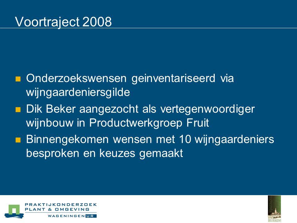 Voortraject 2008 Onderzoeksgeld ingezet op 3 onderwerpen Inventarisatie groei en productie verschillende druivenras-onderstamcombinaties in verschillende regio's binnen Nederland (doel betere advisering nieuwe aanplanten) Preventiemaatregelen en biologische bestrijdingstechnieken schimmelziekten Markt- en consumentengedrag Nederlandse biologische wijn