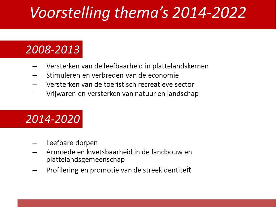 Voorstelling thema's 2014-2022 2008-2013 : – Versterken van de leefbaarheid in plattelandskernen – Stimuleren en verbreden van de economie – Versterken van de toeristisch recreatieve sector – Vrijwaren en versterken van natuur en landschap 2014-2020 : – Leefbare dorpen – Armoede en kwetsbaarheid in de landbouw en plattelandsgemeenschap – Profilering en promotie van de streekidentite it 2008-2013 2014-2020