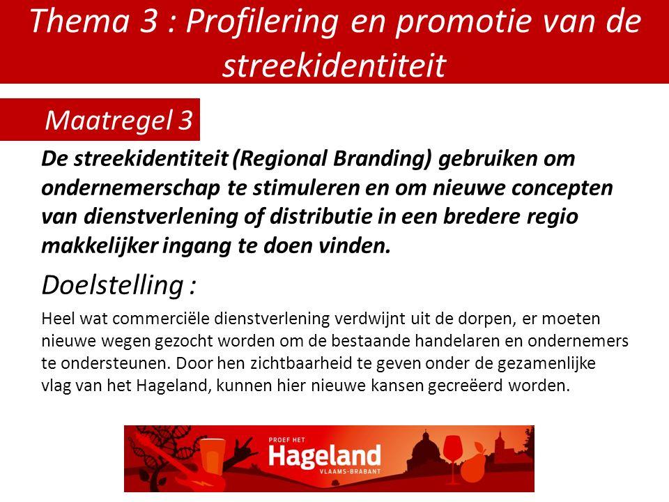 Thema 3 : Profilering en promotie van de streekidentiteit De streekidentiteit (Regional Branding) gebruiken om ondernemerschap te stimuleren en om nieuwe concepten van dienstverlening of distributie in een bredere regio makkelijker ingang te doen vinden.