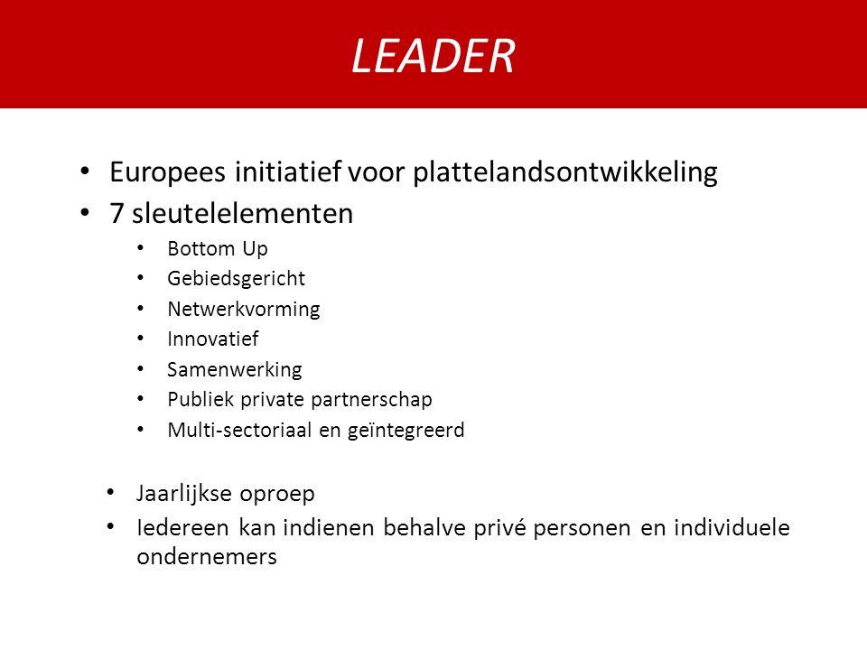 LEADER Europees initiatief voor plattelandsontwikkeling 7 sleutelelementen Bottom Up Gebiedsgericht Netwerkvorming Innovatief Samenwerking Publiek private partnerschap Multi-sectoriaal en geïntegreerd Jaarlijkse oproep Iedereen kan indienen behalve privé personen en individuele ondernemers LEADER