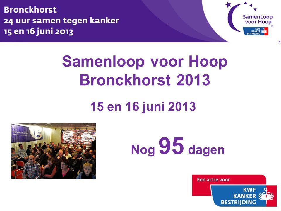 Samenloop voor Hoop Bronckhorst 2013 15 en 16 juni 2013 Nog 95 dagen