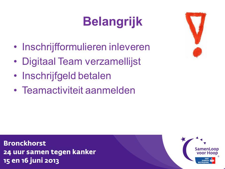 Belangrijk Inschrijfformulieren inleveren Digitaal Team verzamellijst Inschrijfgeld betalen Teamactiviteit aanmelden