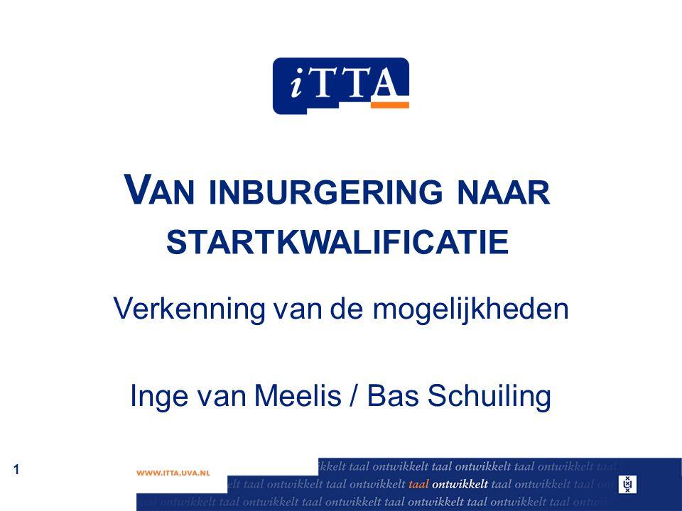 V AN INBURGERING NAAR STARTKWALIFICATIE Verkenning van de mogelijkheden Inge van Meelis / Bas Schuiling 1