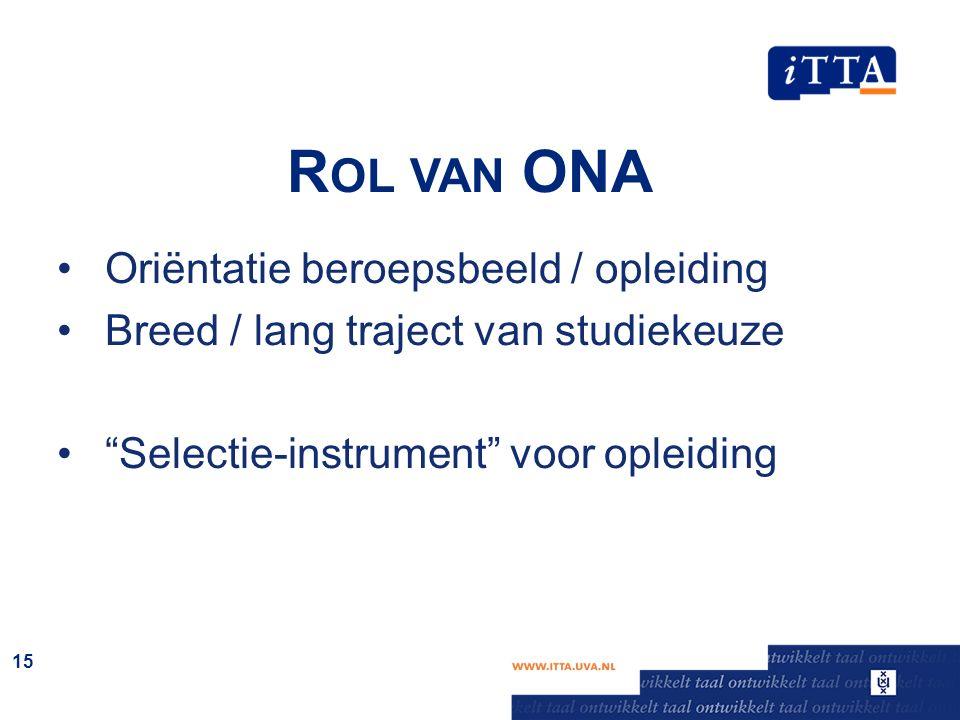 """R OL VAN ONA Oriëntatie beroepsbeeld / opleiding Breed / lang traject van studiekeuze """"Selectie-instrument"""" voor opleiding 15"""
