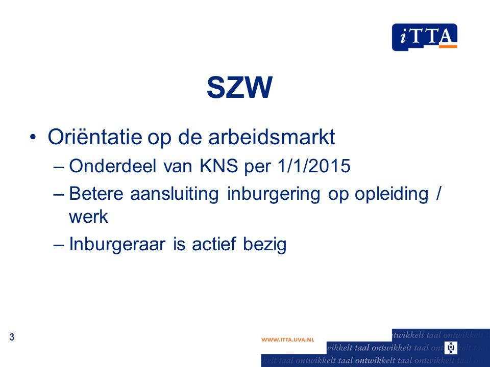 SZW Oriëntatie op de arbeidsmarkt –Onderdeel van KNS per 1/1/2015 –Betere aansluiting inburgering op opleiding / werk –Inburgeraar is actief bezig 3