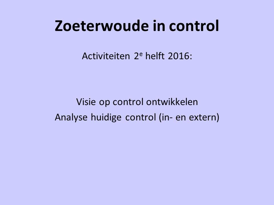 Zoeterwoude in control Activiteiten 2 e helft 2016: Visie op control ontwikkelen Analyse huidige control (in- en extern)