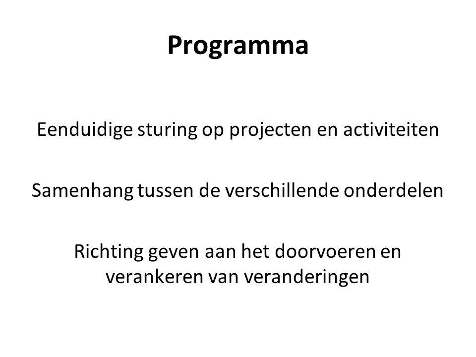 Programma Eenduidige sturing op projecten en activiteiten Samenhang tussen de verschillende onderdelen Richting geven aan het doorvoeren en verankeren van veranderingen