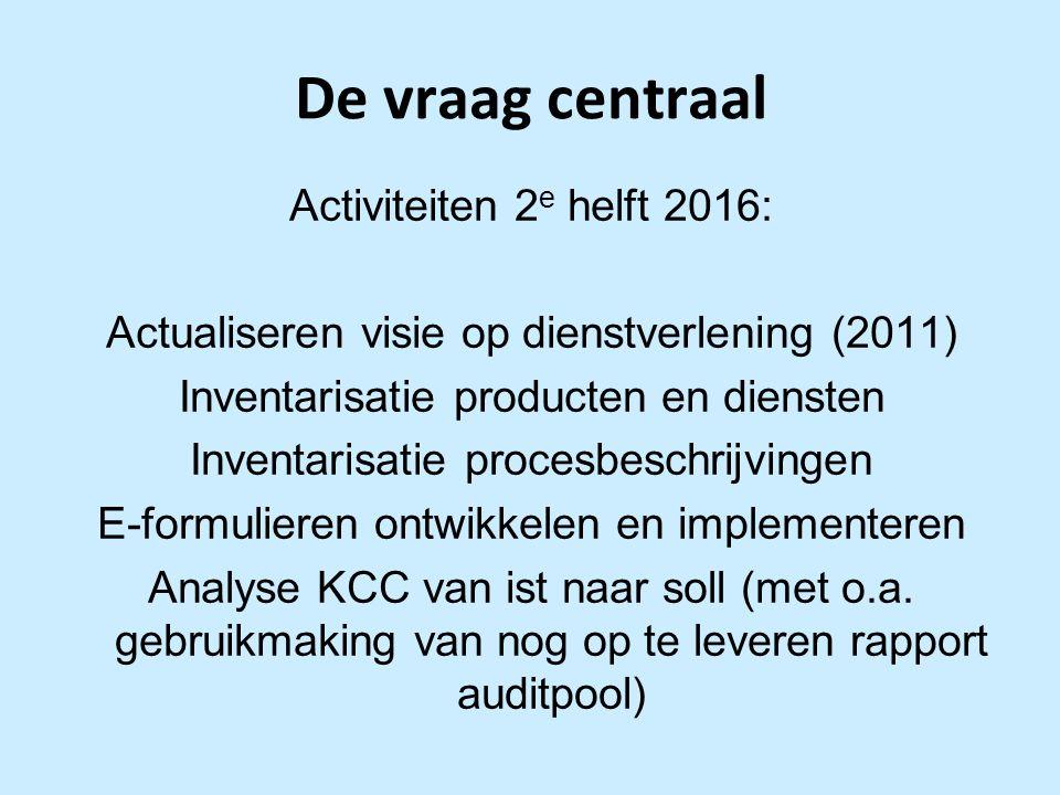 De vraag centraal Activiteiten 2 e helft 2016: Actualiseren visie op dienstverlening (2011) Inventarisatie producten en diensten Inventarisatie procesbeschrijvingen E-formulieren ontwikkelen en implementeren Analyse KCC van ist naar soll (met o.a.