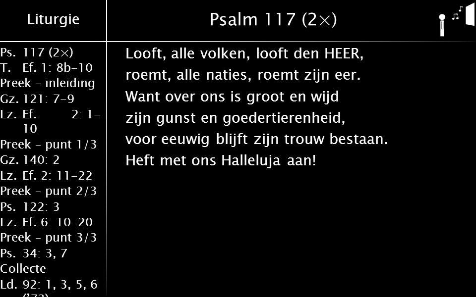 Liturgie Ps.117 (2×) T.Ef. 1: 8b-10 Preek – inleiding Gz.121: 7-9 Lz.Ef.