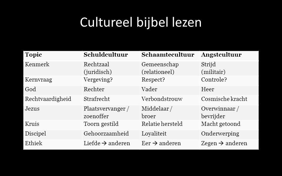 TopicSchuldcultuurSchaamtecultuurAngstcultuur Kenmerk Rechtzaal (juridisch) Gemeenschap (relationeel) Strijd (militair) KernvraagVergeving Respect Controle.
