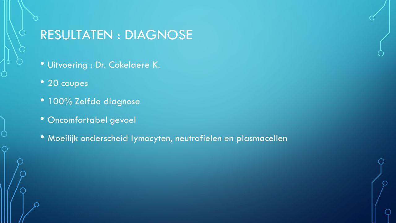 RESULTATEN : DIAGNOSE Uitvoering : Dr. Cokelaere K. 20 coupes 100% Zelfde diagnose Oncomfortabel gevoel Moeilijk onderscheid lymocyten, neutrofielen e