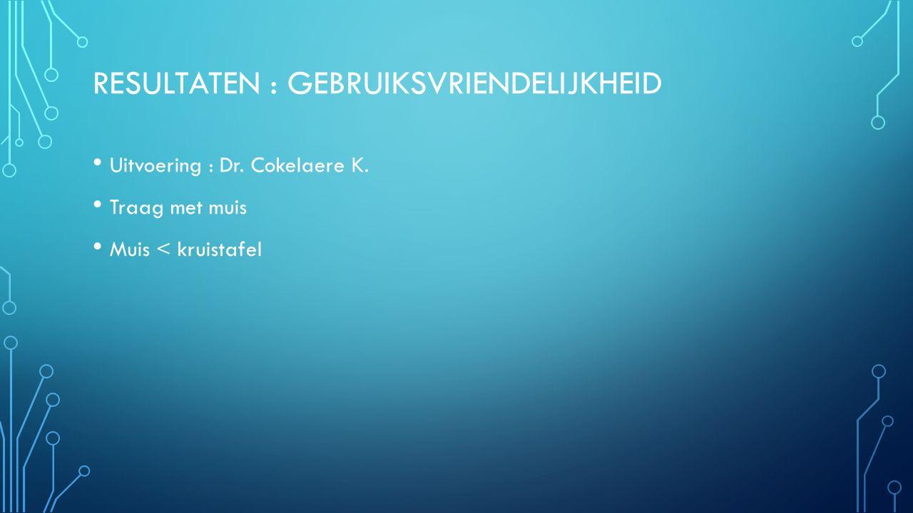 RESULTATEN : GEBRUIKSVRIENDELIJKHEID Uitvoering : Dr. Cokelaere K. Traag met muis Muis < kruistafel