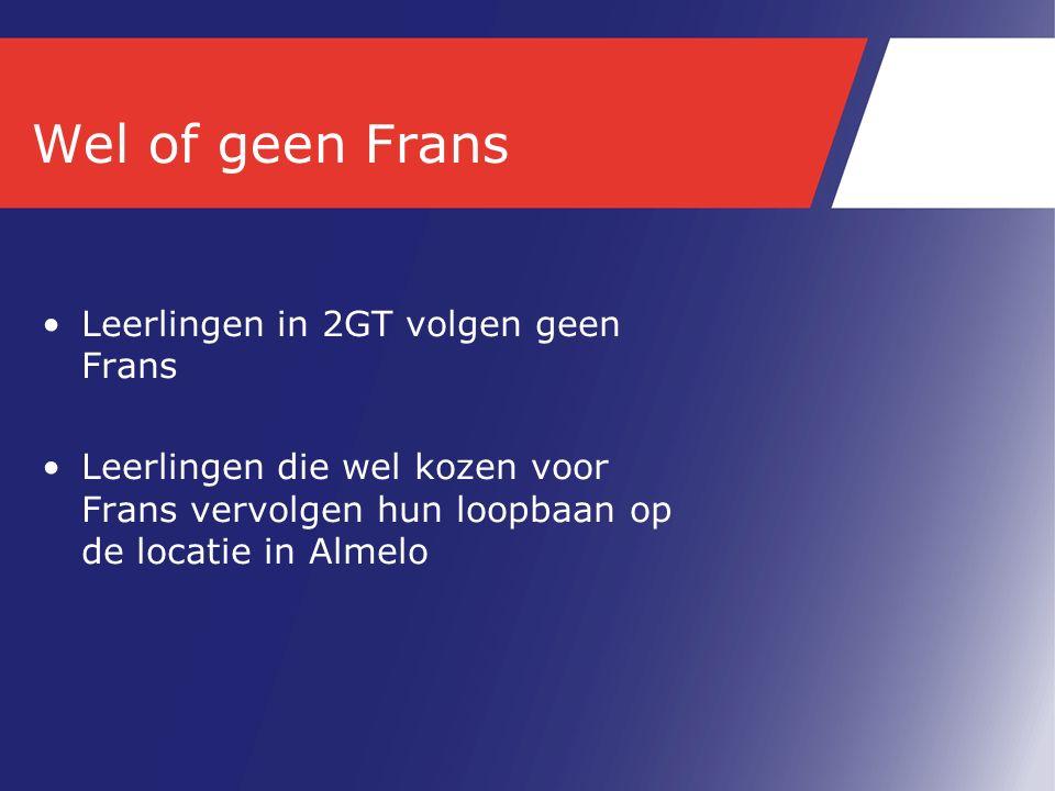 Wel of geen Frans Leerlingen in 2GT volgen geen Frans Leerlingen die wel kozen voor Frans vervolgen hun loopbaan op de locatie in Almelo